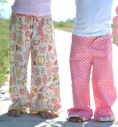 "Lazy Day Lounge Pants at u-createcrafts.com 1 1/2 yards of MAIN fabric  1/4 yard for HEM and WAIST  other sewing essentials (serger, sewing machine, thread, etc.)  a pair of pants that fit your little one  3/4"" elastic"