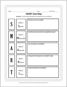 Smart Goals Worksheet | SMART Goals Template | Worksheets for Art