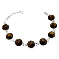Colour:Brown Metal: 925 Silver Surface:-- Material:-- Stone:Tiger Eye Fecetted Comment:-- Length:21.00  cms8.19  Inches Width:1.20  cms 0.47  Inches Hallmark: Yes Grams:15.18