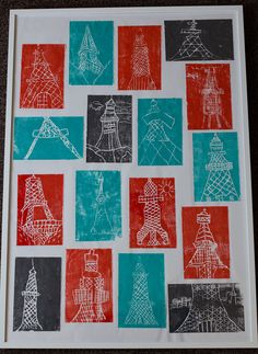 G4 collaborative art for auction - styrofoam prints of Tokyo Tower