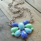 Mint Green and Blue pastel statement necklace on silver and gold chain