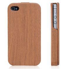 Wood Grain Finish Hard Folio Flip Case For iPhone 4 &amp. 4S « Holiday Adds