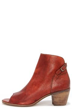 Matisse Folk Brick Red Leather Peep Toe Booties