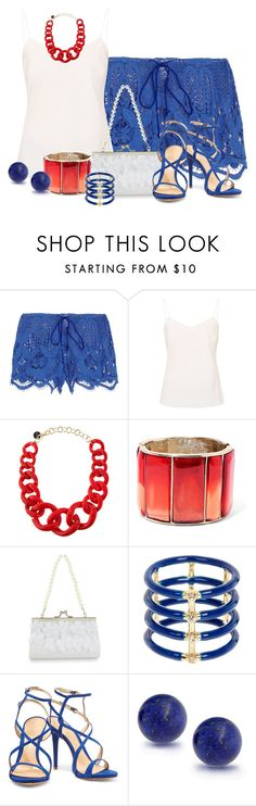 """""""Crochet Shorts"""" by tlb0318 on Polyvore featuring Miguelina, Ted Baker, Alisha.D, Oscar de la Renta, Monsoon, Elizabeth and James, Schutz and Bling Jewelry"""