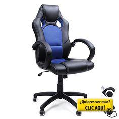 Songmics Racing Silla de escritorio computadora oficina Ergonómica Regulable PU Metal cromado 111-121 cm Negro-Azul OBG56L #silla #ordenador