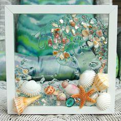 Sea Glass Art for Beach Decor Beach Bathroom Wall Hanging