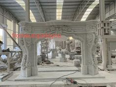 MASSIVE CARVED MARBLE EUROPEAN DESIGN FIREPLACE MANTEL - FPM620 #fromeuropetoyou