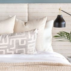 This bed bolster pillow in light gray and sandy beige will add the subtle graphic impact your space is craving. Bolster Pillow, Bed Pillows, Your Space, Pillows