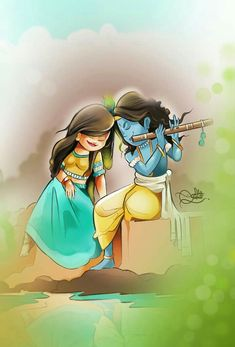 God of love Krishna Radha Painting, Hindu Art, Cartoon