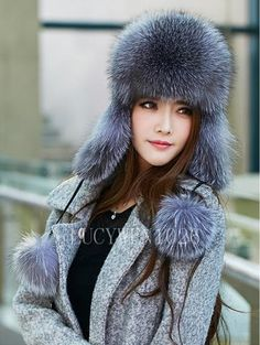 Women s Winter Warm Hat Real Genuine Silver Fox Fur Ear Flaps Bomber Russian  Ushanka Cossack Trapper Furry Ski Aviator Beanie Cap 308fba3002c9