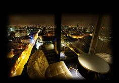 Cloud 23 Manchester's Sky Bar, with floor to ceiling windows and a glass bottomed floor!