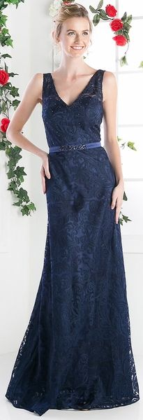 Lace V-Neck Sleeveless Rhinestones Floor Length Evening Gown Navy Blue Colors Available) Navy Blue Dresses, Navy Dress, Lace Back, Beaded Lace, V Neck Dress, Mother Of The Bride, Sheath Dress, Evening Gowns, Rhinestones