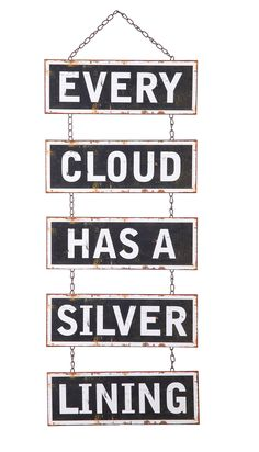 Sayings Every Cloud Has A Silver Lining Hanging Sign Wall Décor