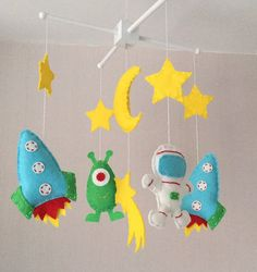 Space themed baby crib mobile. An ideal gift for a new babys nursery or for room decor in an older childs bedroom.  This mobile consists of a moon,