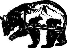 """Momma Bear silhouette with her cubs on a mountain 38"""" x 27"""""""