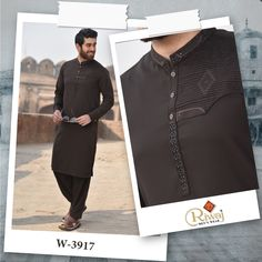 Riwaj Men's Wear is Pakistan's leading Men's clothing branding which is known for its finest fabric quality and traditional designs. The brand is considered as a goal setter in the market's fashion. Gents Kurta Design, Boys Kurta Design, Mens Shalwar Kameez, Kurta Men, Latest African Fashion Dresses, Latest Mens Fashion, Pathani Suit Men, Indian Fashion Modern, Clothing Branding