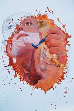 Figurativo XIII - Jose se afeita a contrapelo llenando de color su vida / Collage + Acrílico 122 X 82 cm.