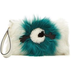 Anya Hindmarch Eyes Shearling Clutch ($810) ❤ liked on Polyvore featuring bags, handbags, clutches, white, anya hindmarch, anya hindmarch purse, white clutches, shearling purse and white purse