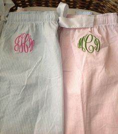 This is listing is for Seersucker Monogrammed Pajama Pants, which feature a front accent pocket, stylish cuffs at the bottom of the pants,