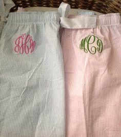 Seersucker Monogrammed Pajama Pants- $24.65- cute gift
