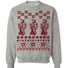 SALE - Robot Ugly Christmas Sweater Flex Fleece Pullover Classic Sweatshirt - Size X-Large