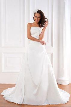 Modern A-line One Shoulder Chapel Train Pleats Satin Wedding Dresses