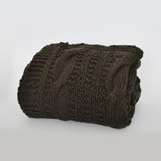 Scandinavian knitted cotton blanket, throw. Braided design / ręcznie dziergany na drutach pled koc w warkocz