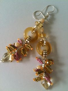 Earrings:  With Clear Yellow Vintage Glass Rings, Citrine, Faceted Glass & Seed Bead Loops, One of a Kind