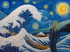 "The Great Wave off Kanagawa by Katsushika Hokusai ☆ Starry Night by Vincent Van Gogh ☆ The Scream by Edvard Munch. inspired ""Despair"" by Salavat Fidai"
