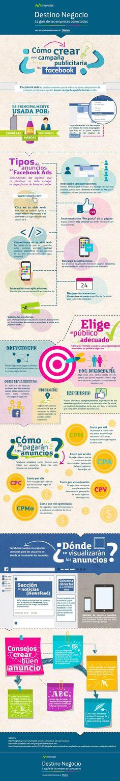 Cómo crear una campaña publicitaria en Facebook #infografia #socialmedia #marketing Leia os nossos artigos sobre Marketing Digital no Blog Estratégia Digital em http://www.estrategiadigital.pt/category/marketing-digital/