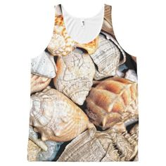 Tropical Seashell Theme All-Over Print Tank Top Tank Tops