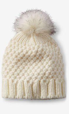 ivory faux fur pom thick knit beanie