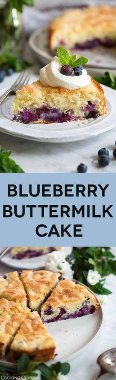 Blueberry Buttermilk Cake via @cookingclassy