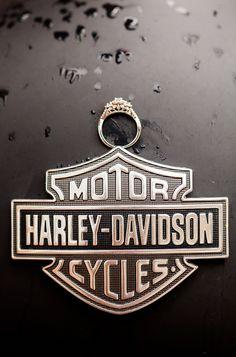 Fun ring shot with Harley Davidson motorcycle engagement