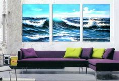 3 Pics Pacific Ocean Big Wave Abstract 100% Hand Painted Oil Painting on Canvas Wall Art Deco Home Decoration (Unstretch No Frame) by galleryworldwide, http://www.amazon.com/dp/B00975AW6Q/ref=cm_sw_r_pi_dp_-AdUrb001F0X4