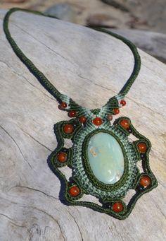 Macrame necklace with Peruvian Opal by Coco Paniora Salinas of Rumi Sumaq