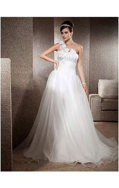 A-line One Shoulder Sweep/ Brush Train Organza Satin Wedding Dress