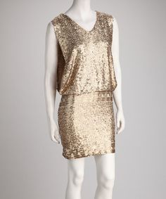 Take a look at this Sara Boo Gold Sleeveless Sequin Dress by Sara Boo & Grifflin Paris on #zulily today!