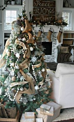 rustic natural looking Christmas tree. Perfect!
