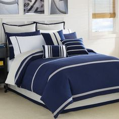Prince Of Tennis Navy Blue Duvet Cover Set Luxury Bedding Navy Blue Comforter Sets, Royal Blue Bedding, Blue Duvet, King Comforter Sets, King Duvet, Gray Comforter, Yellow Bedding, Striped Bedding, Yellow Pillows