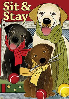 Jeremiah Junction Garden Flag SIT and STAY LABS dog lab Labrador retriever NEW