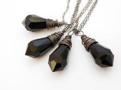 Set of 4 Bridesmaid Necklaces: Black Swarovski by EstyloJewelry