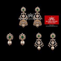 deda25333 Buy Earrings Online | 3-1 Gala Diamond Jhumkis from Kameswari Jewellers