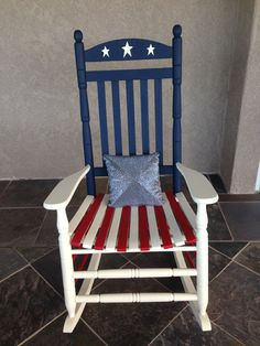 I took my old rocking chair, sanded it down and painted it :) Painted Rocking Chairs, Hand Painted Chairs, Outdoor Rocking Chairs, Adirondack Chairs, 4th July Crafts, Fourth Of July Decor, Diy Garden Furniture, Paint Furniture, Furniture Ideas