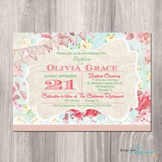 Baptism Invitation - Shabby Chic Baptism Invitation - Christening Invitation for…