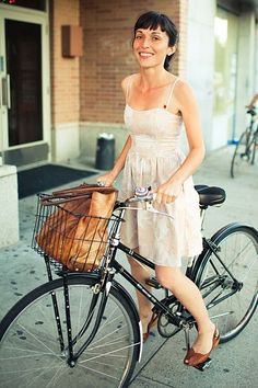 dressy bicycle lady