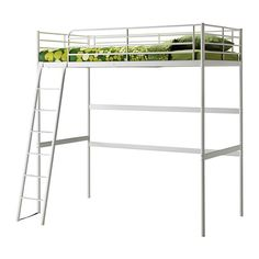 Possibly for G's room? TROMSÖ Loft bed frame IKEA The ladder can mount on the left or right side of the bed.