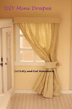 Kitty and Kat Miniatures: 1:12 Scale Dollhouse DIY Tutorial - Easy Drapes And Blind