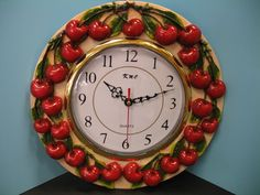 Red Cherry Wall Clock Decor Kitchen Cherries Fruit Bar Home Set Kitchen New | eBay