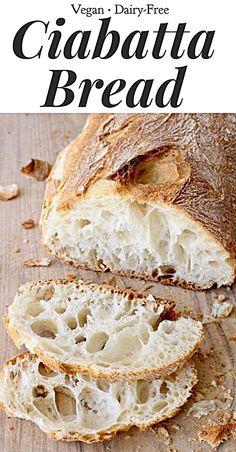 Perfect holes, crusty exterior, vegan and ea… Best Italian Ciabatta Bread Recipe. Perfect holes, crusty exterior, vegan and easy to make Artisan Bread Recipes, Banana Bread Recipes, Baking Recipes, Vegan Recipes, Bread Flour Recipes, Best Vegan Bread Recipe, Italian Bread Recipes, Ciabatta Bread Recipe, Organic Bread Recipe